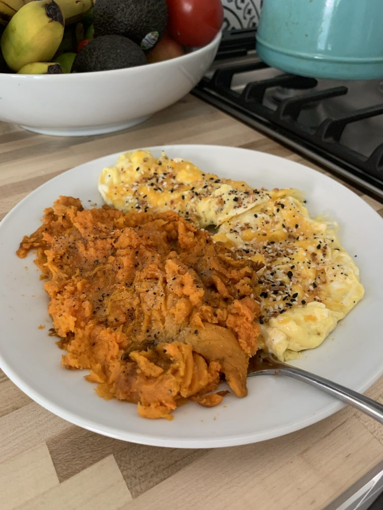 Scrambled eggs with sweet potato